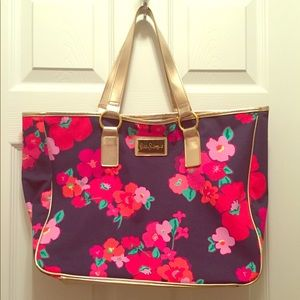 Lilly Pulitzer Beach Pool Tote Blue Flower Gold